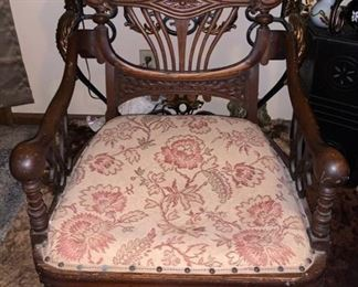 ANTIQUE CHAIR   $250 - WORTH A LOT MORE...NEED IT OUT OF THE WAY..