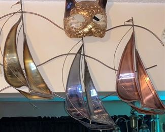 LARGE SIGNED COPPER SILVER BRASS WALL SHIP  $60