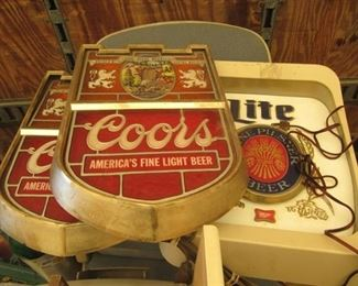 """3 electric beer signs approx. 15"""" x 18"""""""