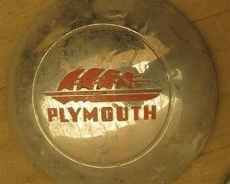 "4 Vintage 1940's Plymouth 10"" Clipper Sail Ship metal hub caps"