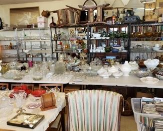 Plenty of glassware, depression glass, milk glass, and much more