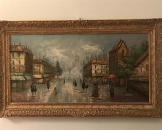 Largest of the two French oil paintings