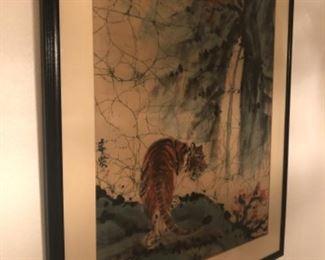 Gem of the sale! Vintage Asian batik well  preserved in frame.