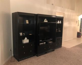 Three pieces , will fit up to 46 inch TV. Glass shelving with lighting