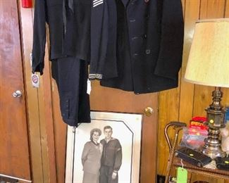early 1950s US Navy uniform, pea coat, and portrait of the homeowner