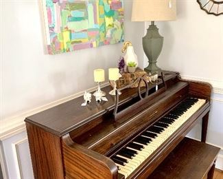 Sunny Goode original artwork piano and Rae Dunn Magenta Exclusive pieces
