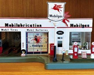 Vintage Mobil service Station Clock By Danbury Mint