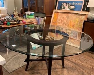 "58"" Diameter Glass table seats 6 new from Crate & Barrel"