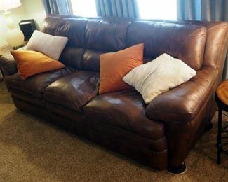 "Genuine Leather 3 Cushion Sofa 36"" X 92"" X 40"" Includes Throw Pillows"