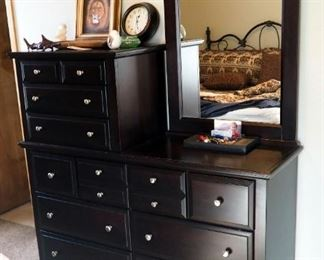 """Solid Wood 10 Drawer Dresser With Mirror 78""""x 57"""" x 19"""""""