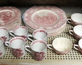 """Crown Ducal """"Colonial Times"""" 38 Piece China Set Including Assorted Plates, Cups, Saucers And Serving Dishes"""