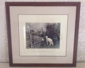 """Master Bedroom: A lamb print rests on the mantel.  It is titled """"The Forgotten Way."""""""
