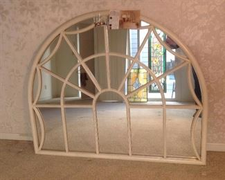 """Master Bedroom: This arch top multi-panel mirror was originally purchased from BALLARD DESIGN and is referred to as the """"Charleston Mirror.""""  It measures 56"""" wide x 45"""" tall. This piece previously  hung above the glass sliding doors leading to the deck.  It gave the wall great additional height and interest."""