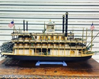Large model of the Mark Twain paddle boat