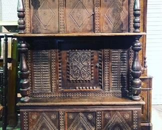 French carved court cupboard