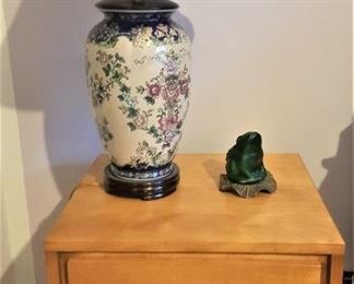 Russel Wright Mid Century Modern Nightstand by Conant Ball - this is one of a pair also ceramic ginger jar lamp and shade (pair)