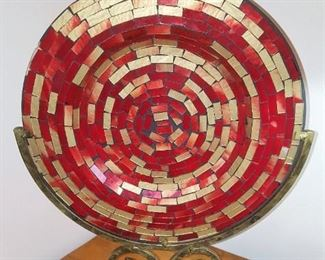 Irridescent red and gold mosaic dish in stand