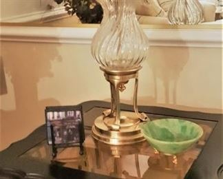 Glass and wood end table - very heavy brass and glass lamp