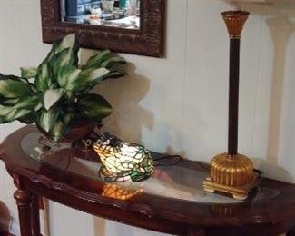 Demilune console table, glass insert