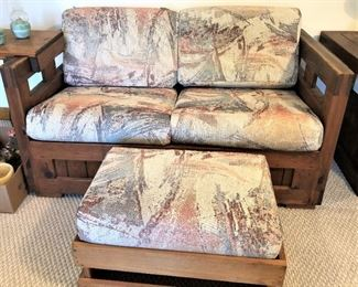 This End Up Loveseat and ottoman