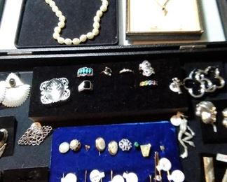Various jewelry - silver, 925 and plate, gold, pearls and costume