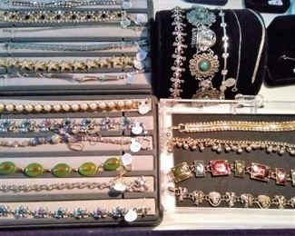 Bracelets, some sterling and costume