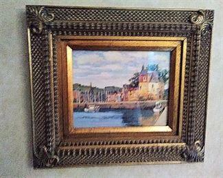 Nicely framed oil under UV glass
