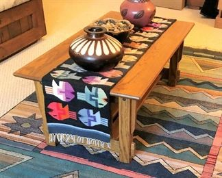 Oak coffee table, runner and southwestern decor