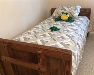 Pair Twin THis End Up single beds, mattresses and box springs. Makes into Bunks