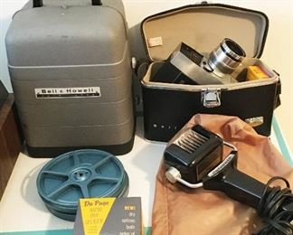 Vintage Bell and Howell 8 mm movie camera and projector