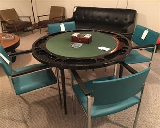 This vintage poker table by Durham has been covered for years and is in excellent condition. There is an oak cover that goes with the table if desired.