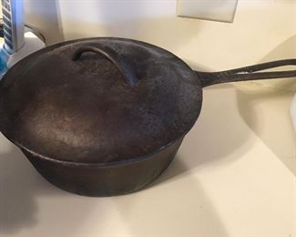 Large vintage cast iron pan with lid