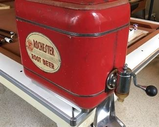 Vintage and very rare Rochester root beer dispenser with internal stainless tub