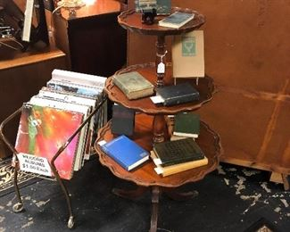 3-Tier Mahogany Duncan Phyfe Table and vintage books