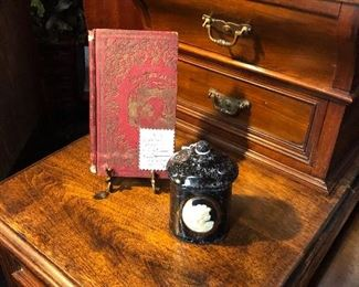 "c.1800's Hand Written Journal and a Black Speckled Ceramic Victorian-style Jar stamped ""JAPAN"""