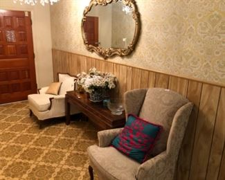 Entry way mirror, table and chairs