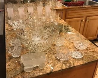 Crystal punch bowl and cups Bar ware