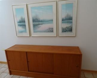 Three section Alan Alaniz  watercolor matted and framed prints.