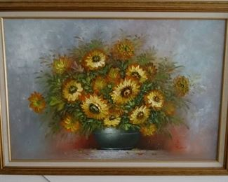 oil painting of sunflowers framed