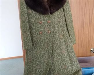 Mid Century ladies coat with mink trim.