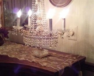 Pair of Lighted Crystal Candelabras