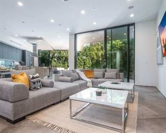 Modern Couch & Glass Tables