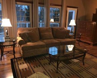 Beautiful Family Room Bernhardt Sofa,  Club Chair and Ottoman