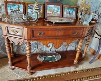 Ebanista Console Table - Solid Wood w/Inlays - Custom Made
