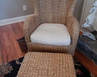 A second Pottery barn Sea Grass wing back and ottoman