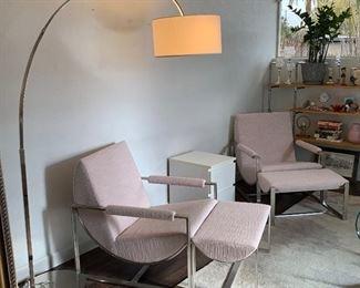 2 West Elm Bower Lounge Chair w/ Ottoman
