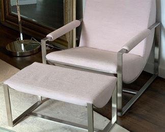 1 West Elm Bower Lounge Chair w/ Ottoman #1 20775475wer 4990805Chair: 33x28x33in. Ottoman: 15x28x16in HxWxD
