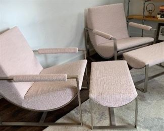 2  West Elm Bower Lounge Chairs w/ Ottoman
