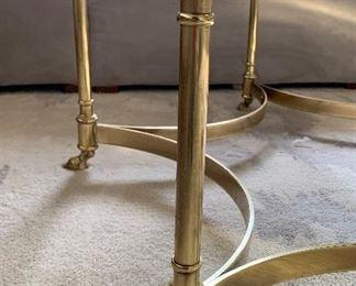 Vintage LaBarge Hoof Foot Hexagonal Coffee Table Grass Hollywood Regency15x42x39.5in HxWxD