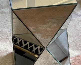 Pier 1 Mirrored Geometric Pedestal20x13x13inHxWxD